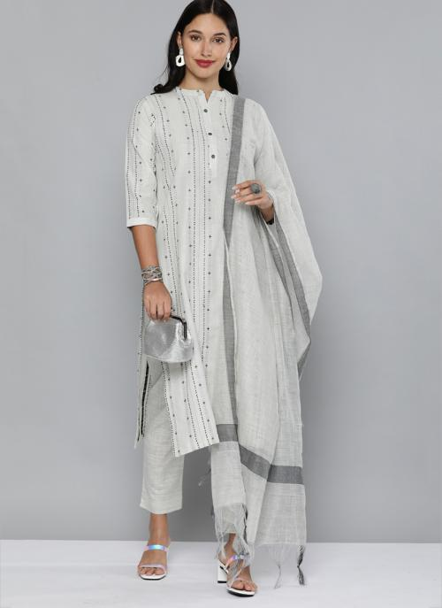 Daily Wear White Wooven Work Cotton Salwar Suit