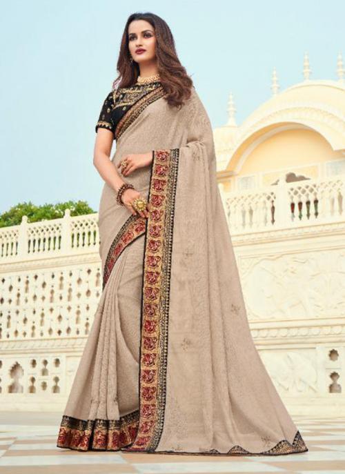 Wedding Wear Brown Embroidery Work Silk Saree