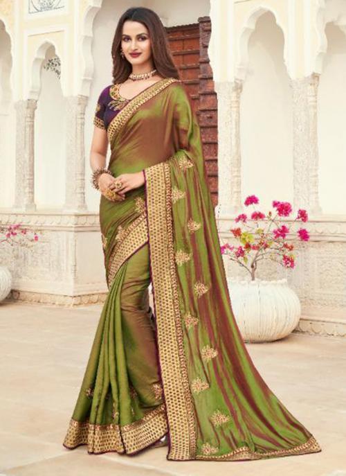 Wedding Wear Multi Color Embroidery Work Silk Saree