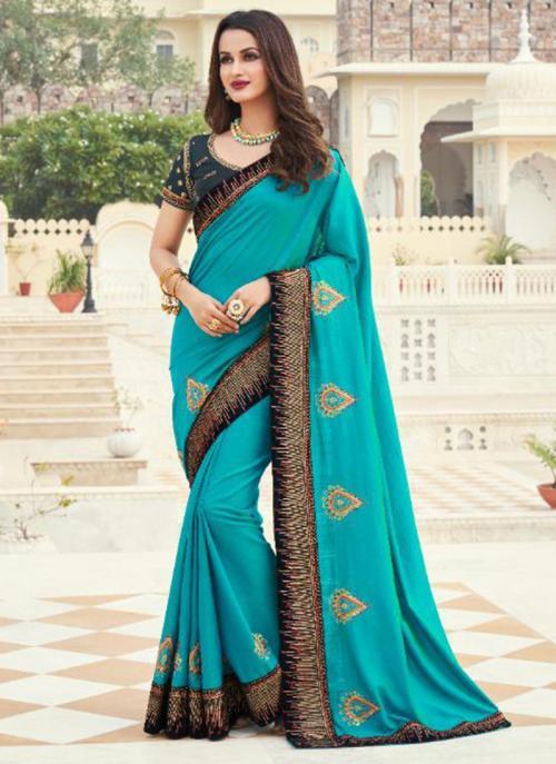 Wedding Wear Sky Blue Embroidery Work Silk Saree