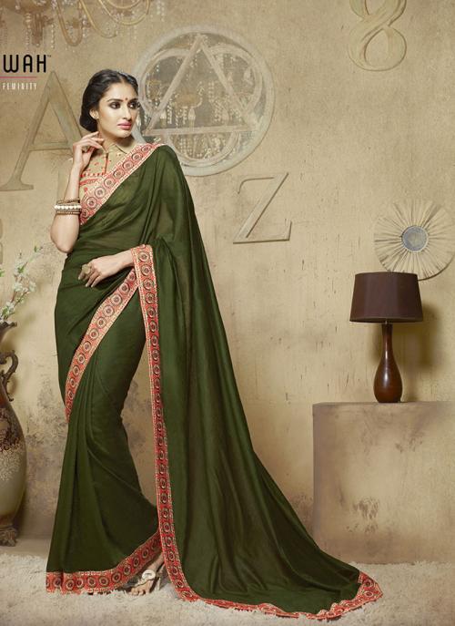Invaluable Green Lace Border Work Diwali Special Designer Saree