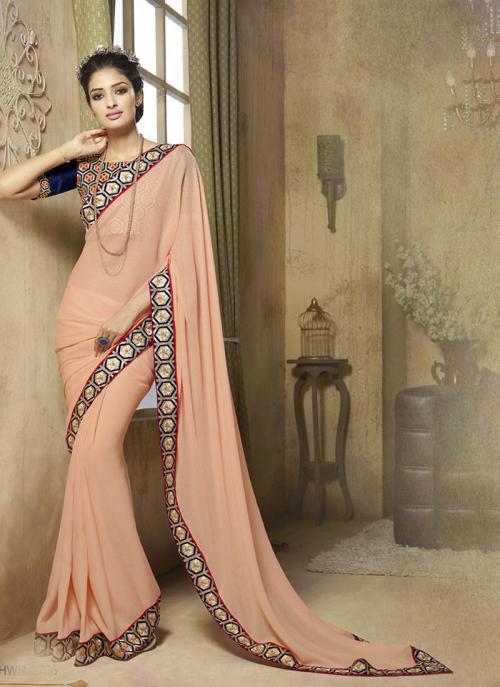 Cherubic Orange Lace Border Work Diwali Special Designer Saree