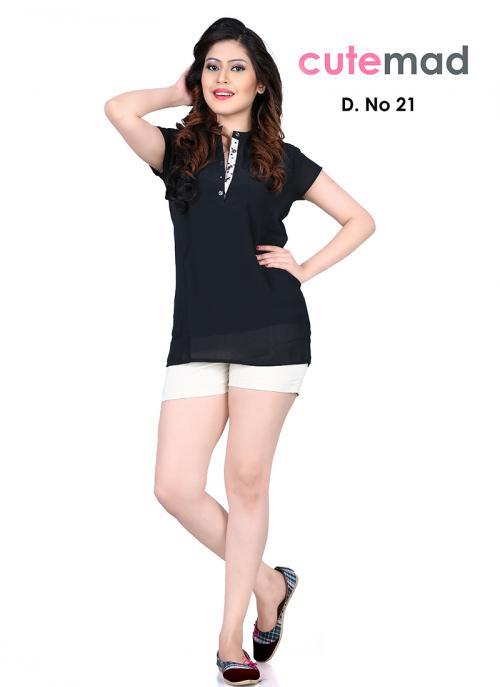 Lustrous Black Georgette Diwali Special Printed Top Sws