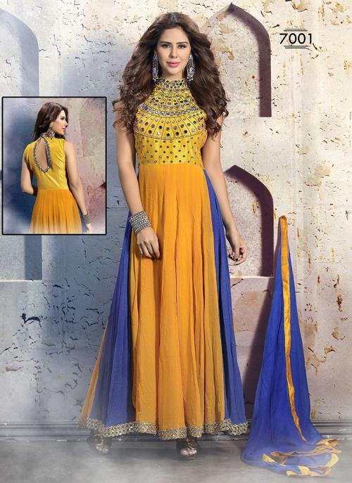 Versatile Yellow Hand Work Anarkali Suit