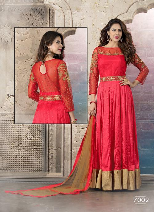 Genius Red Hand Work Anarkali Suit
