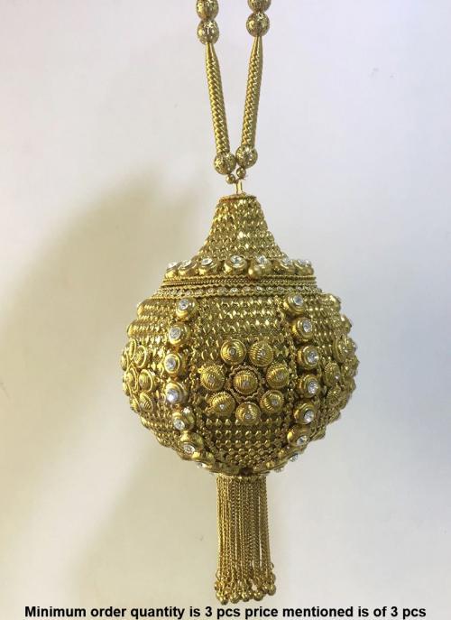 Kundan Work Golden Metal Clutch Bag