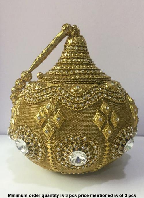 Matki Style Metal Clutch Bag With Diamonds
