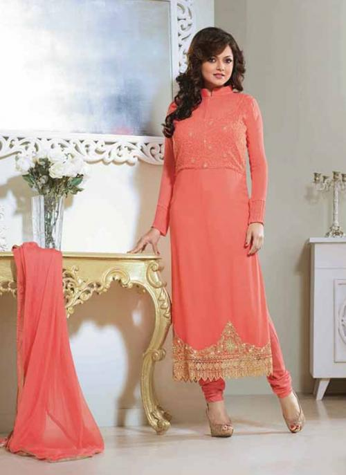 Peach Georgette Casual Wear Salwar Suit