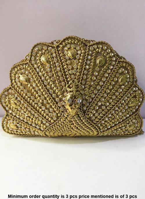 Peacock Design Metal Clutch Bag With Kundan Diamond