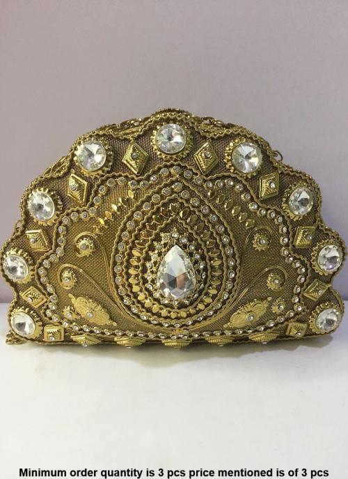 Shell shape designer golden metal clutch bag