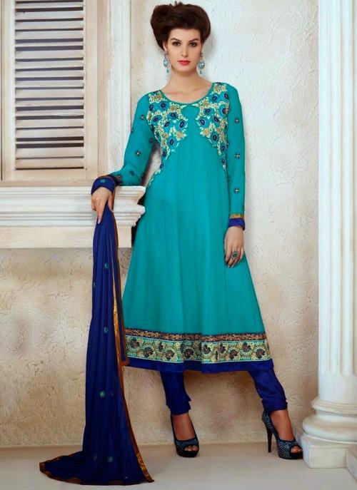 Sky Blue Georgette Party Wear Anarkali Suit