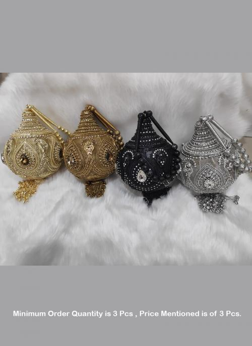 ( Price For 3 Pcs)Traditional designer metal clutches designs