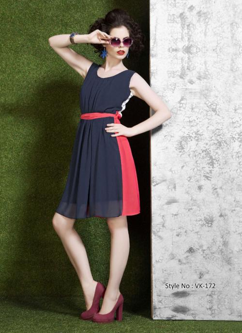 Preferable Black Polyster Georgette Plain Kurti