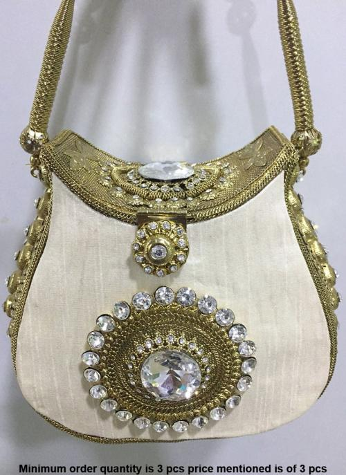 White Color Metal Clutch Bag With Diamond Work