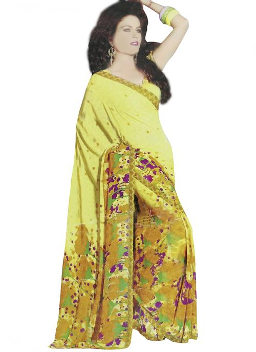 Yellow Georgette Casual Wear Saree