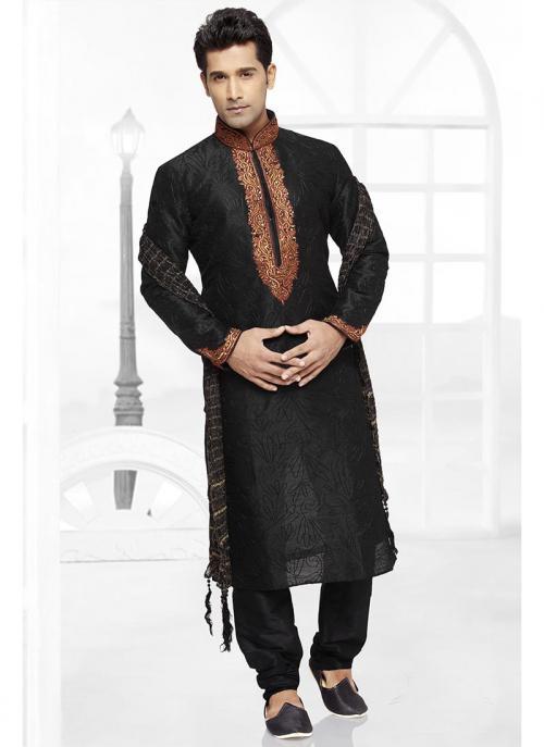 Black Dhupion Kurta Pajama Collection For Wedding