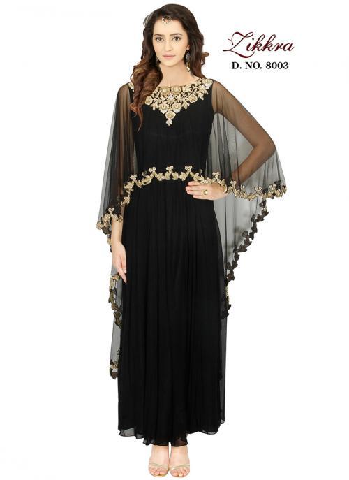 Party Wear Black Georgette Hand Work Gown
