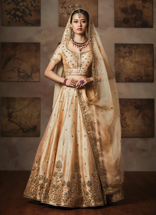 Bridal Wear Beige Mulberry Silk Heavy Embroidery Work Lehenga Choli
