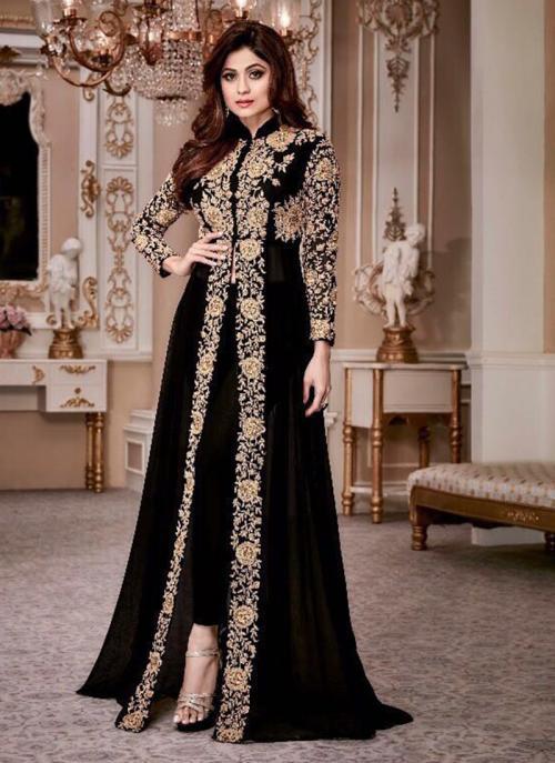 Bridal Wear Black Georgette Embroidery Work Salwar Suit