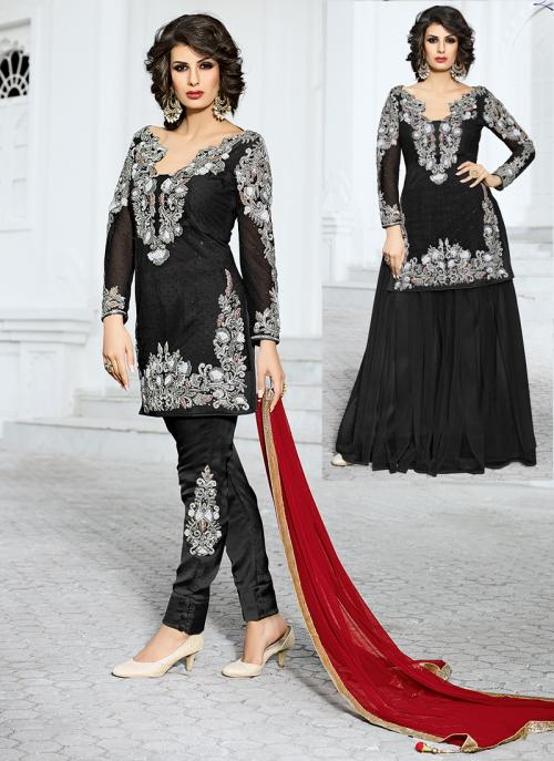 Bridal Wear Black Net Hand Work Salwar Kameez