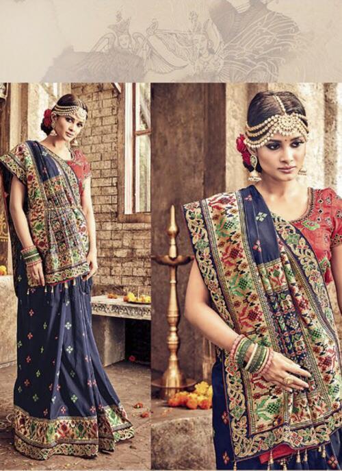 Bridal Wear Blue Banarasi Silk Heavy Embroidery Work Saree