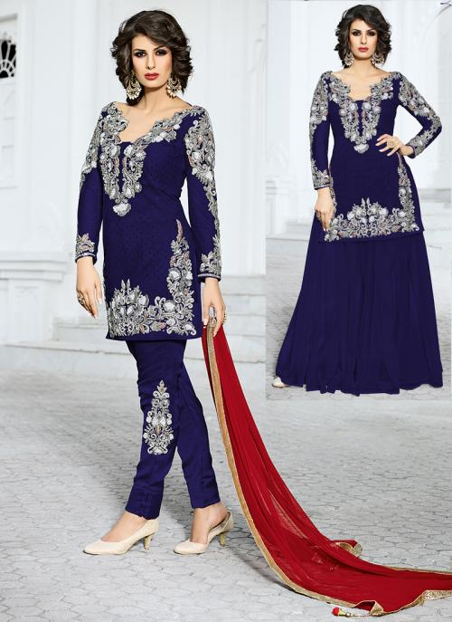 Bridal Wear Blue Net Hand Work Salwar Kameez