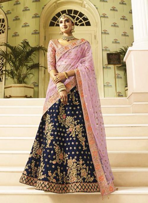 Bridal Wear Blue Silk Heavy Embroidery Work Lehenga Choli