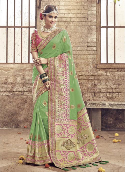 Bridal Wear Green Banarasi Silk Heavy Embroidery Work Saree