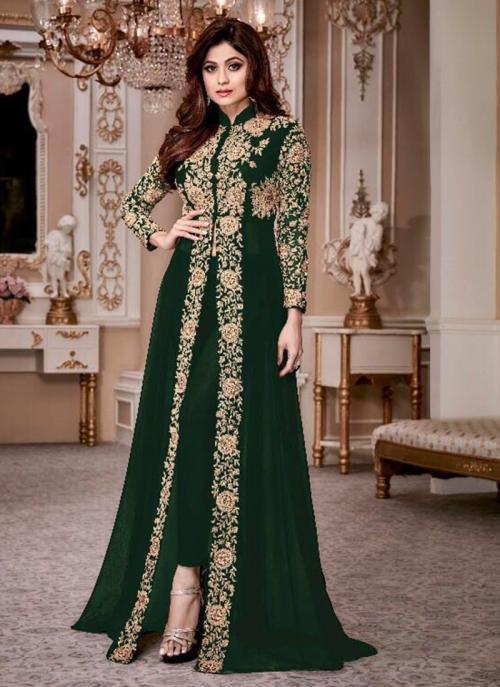 Bridal Wear Green Georgette Embroidery Work Salwar Suit