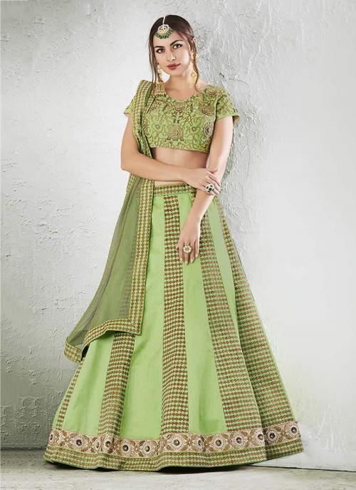 Bridal Wear Green Jacqaurd Zari Embroidery Work Lehenga Choli