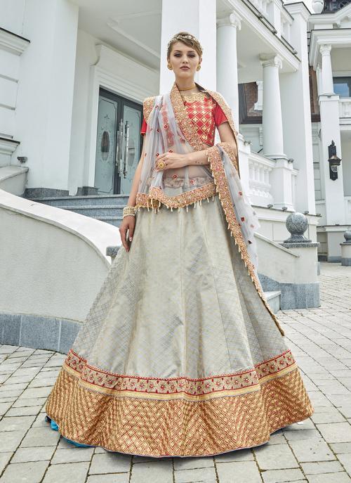 Bridal Wear Grey Jacqaurd Heavy Embroidery Work Lehenga Choli
