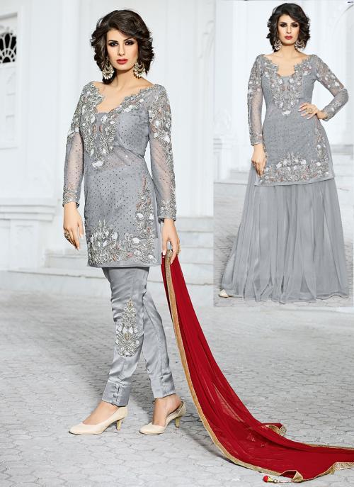 Bridal Wear Grey Net Hand Work Salwar Kameez