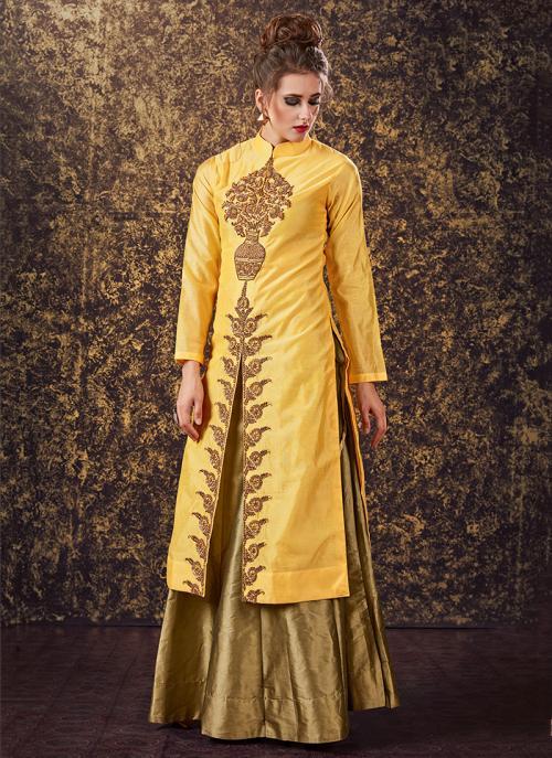 Bridal Wear Lemon Modal Silk Zardosi Work Lehenga Suit