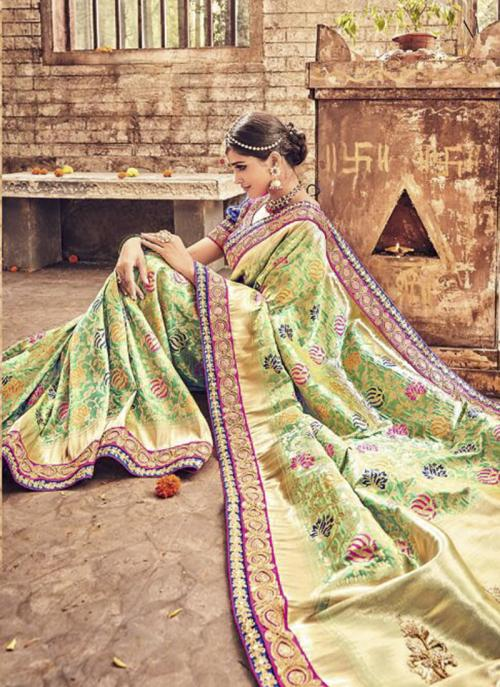 Bridal Wear Light Green Banarasi Silk Heavy Embroidery Work Saree