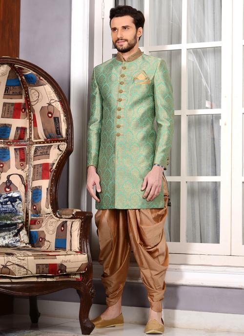 Bridal Wear Light Green Jacqaurd Silk Embroidery Work Sherwani