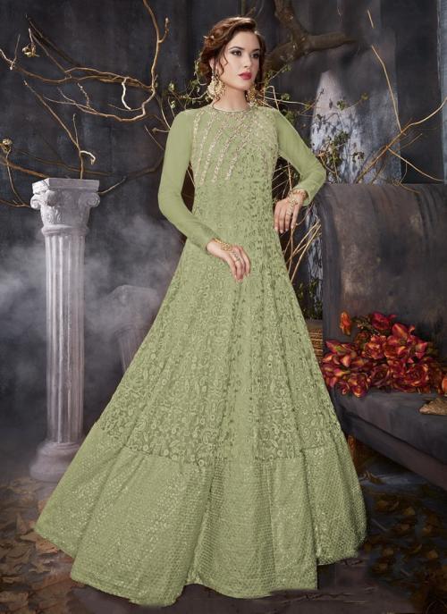 Bridal Wear Light Green Net Embroidery Work Anarkali Style