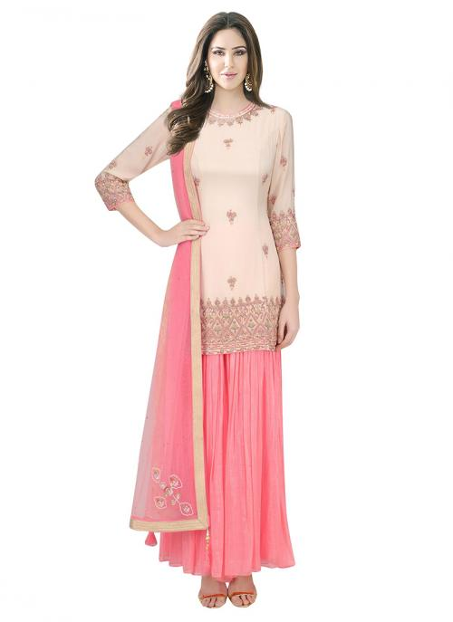 Bridal Wear Light Peach Silk Sequins Work Designer Sharara Suit