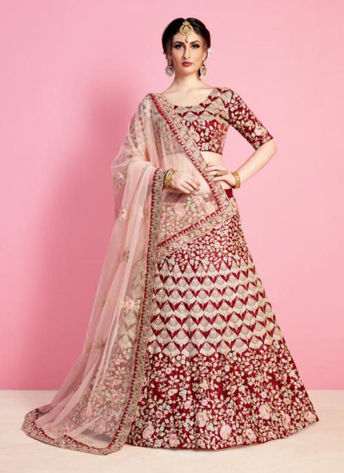 Bridal Wear Maroon Art Silk Sequins Work Lehenga Choli