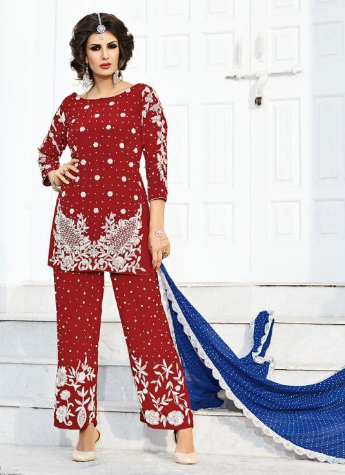 Bridal Wear Maroon Silk Hand Work Salwar Suit