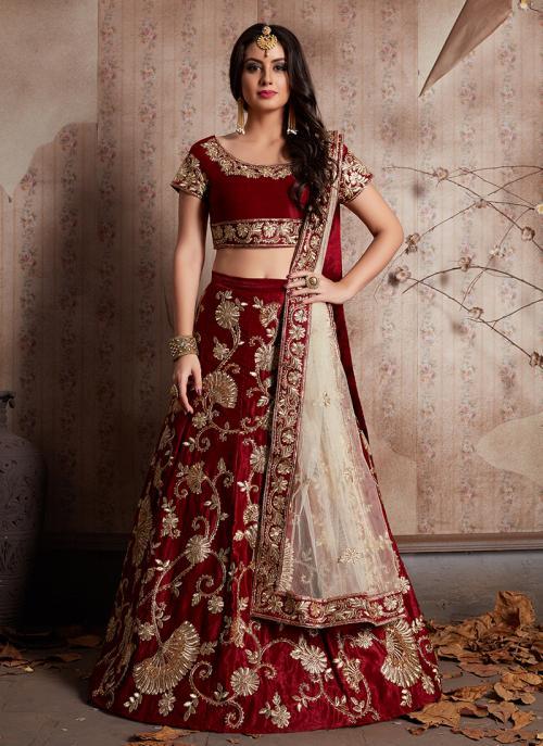 Bridal Wear Maroon Velvet Silk Zari Embroidery Work Lehenga Choli