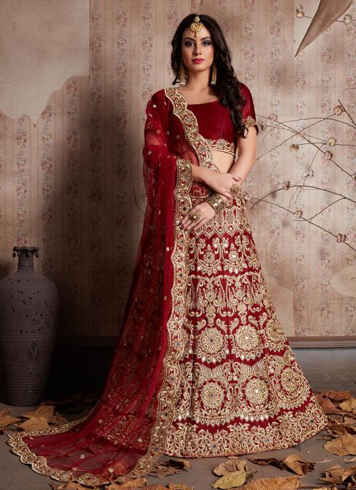 Bridal Wear Maroon Velvet Zari Embroidery Work Lehenga Choli
