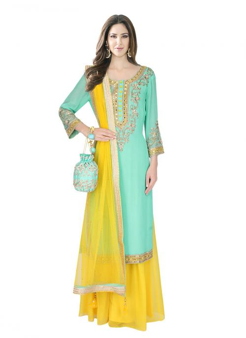 Bridal Wear Mint Blue Georgette Sequins Work Designer Long Shirt With Plazzo