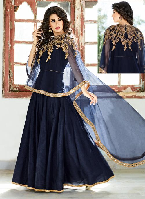 Bridal Wear Neavy Blue Silk Hand Work Salwar Suit