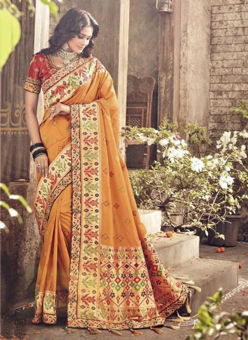 Bridal Wear Orange Banarasi Silk Heavy Embroidery Work Saree