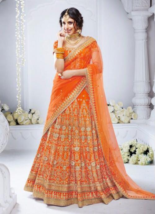 Bridal Wear Orange Bhagalpuri Silk Hand Work Lehenga Choli