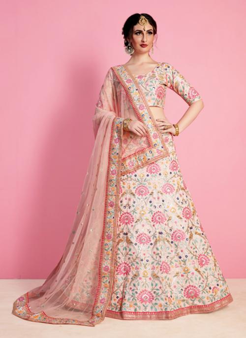 Bridal Wear Peach Art Silk Sequins Work Lehenga Choli