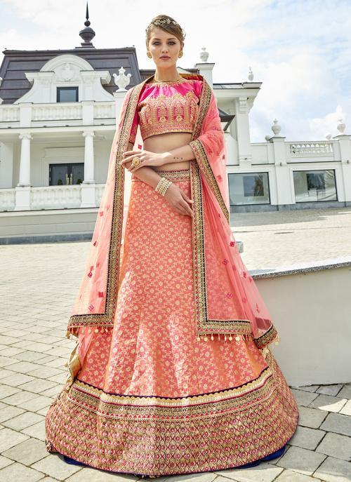 Bridal Wear Peach Jacqaurd Heavy Embroidery Work Lehenga Choli