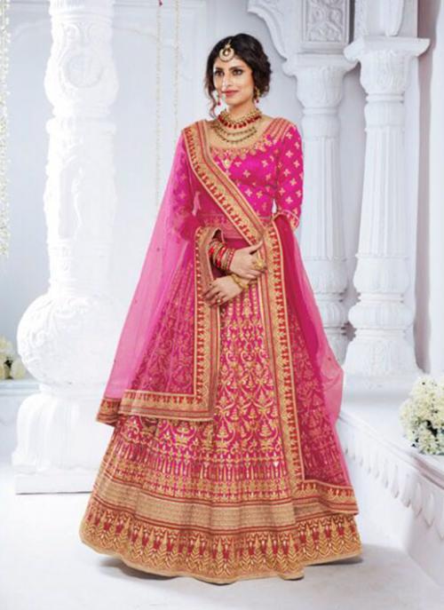 Bridal Wear Pink Bhagalpuri Silk Hand Work Lehenga Choli