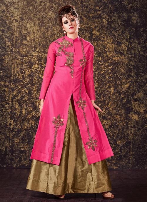 Bridal Wear Pink Modal Silk Zardosi Work Lehenga Suit