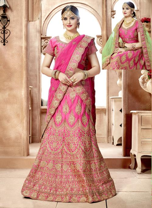 Bridal Wear Pink Nylon Satin Hand Work Lehenga Choli